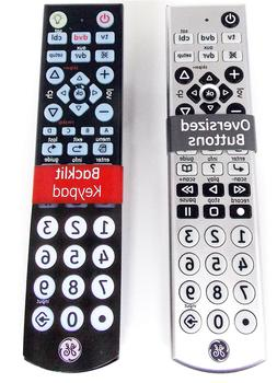 2 Pack GE 10849 Big Button Universal Remote Controls Backlit
