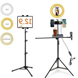 4-Cellphone Synchronous LED Ring Light Stand Fr Live Video S