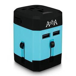Travel Adapter with Smart Dual Fuse 2 USB Charger Internatio