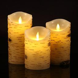 "Eloer Flameless Candles Birch Bark Effect Set Of 3, 5"" 6"""
