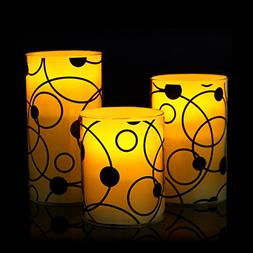 """Eloer Flameless Candles With Glass Effect Set Of 3, 4"""" 5"""""""