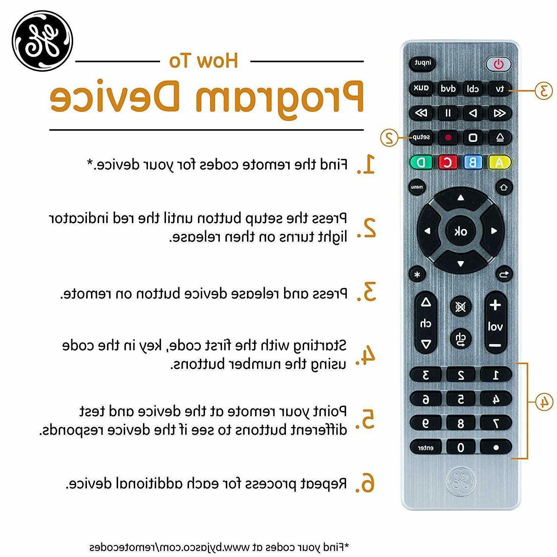 GE Universal Remote, TVs, Vizio, Ray,