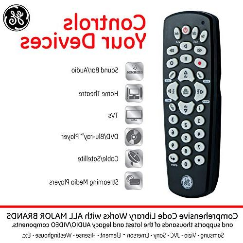 GE Universal Remote, Compact Design, with Vizio, DVD, DVR, TV, Streaming Setup, for TVs,