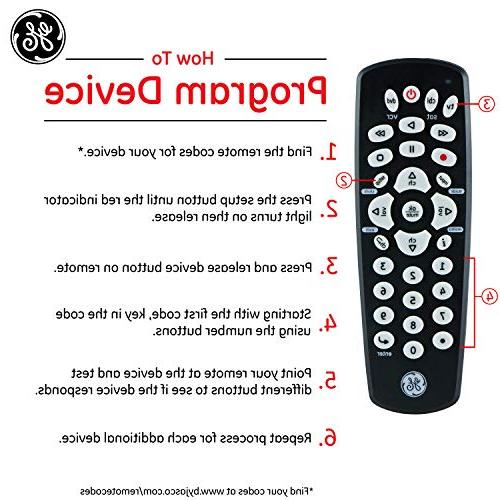 GE 3 Device Universal Remote, Design, Works with Smart Lg, DVD, DVR, TV, Streaming Players, Setup, Pre-Programmed for TVs,