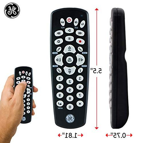 GE Universal Remote, Compact Design, Works with Smart TVs, Vizio, Sony, DVD, TV, Players, Simple Setup, Pre-Programmed TVs, Black, 24991
