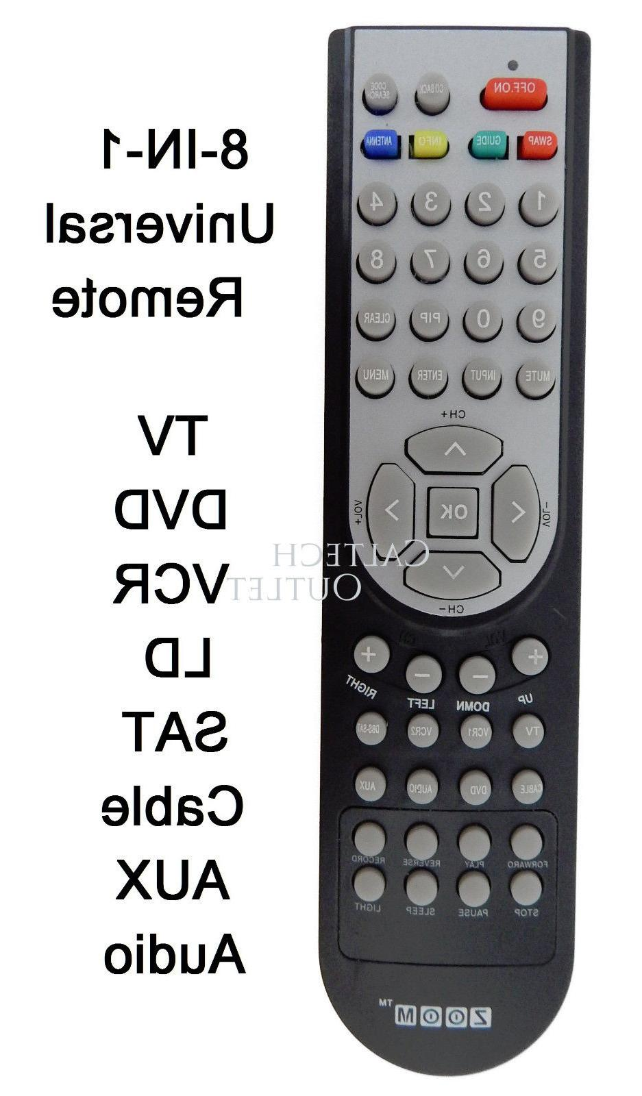 Universal Remote Controller 8 IN 1 TV DVD VCR Satellite Rece