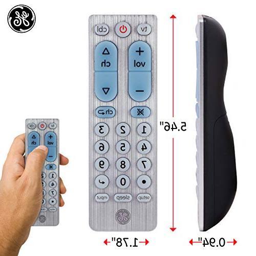 GE 2 Universal Remote, Works with TVs, LG, Vizio, Blu DVR, Roku, TV, Players, Auto Scan, TVs, Silver, 33701