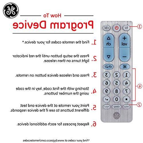 GE Device Remote, TVs, Vizio, Sony, Blu Roku, TV, Scan, Pre-Programmed for TVs, Silver, 33701