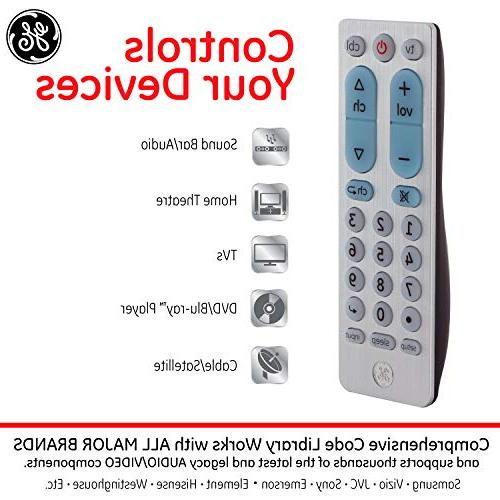 GE 2 Device Remote, TVs, Blu Roku, Players, Simple Setup, Scan, for TVs,