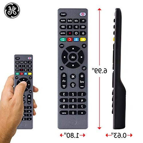 GE 4 Device Remote, Works with Smart TVs, Sony, Blu DVD, DVR, Roku, Players, Scan, Pre-Programmed for TVs, 33711