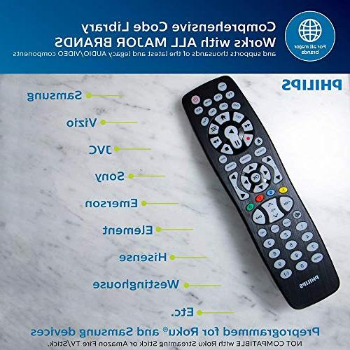 Philips Universal Remote Backlit, Button, LG, Vizio, Ray, Roku, Streaming Players, SRP9488C/27