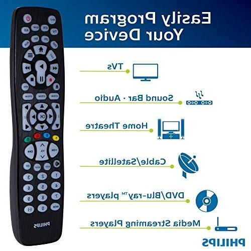 Philips Remote Backlit, Big Button, for Smart TVs, LG, Vizio, Sony, Ray, Players, Scan, for Samsung SRP9488C/27