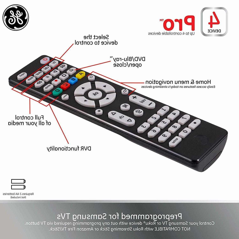 GE Remote Smart TVs Vizio Sony DVD DVR Roku