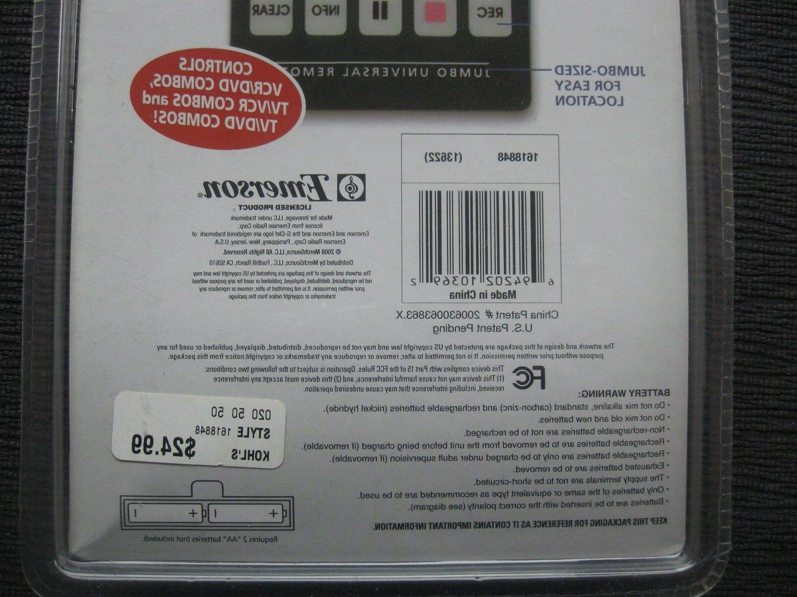 JUMBO Universal Remote Controller~BRAND NEW~Controls Up to Devices~TV,