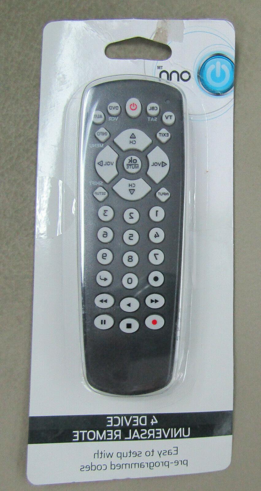 onn 4 device universal remote receiver tv