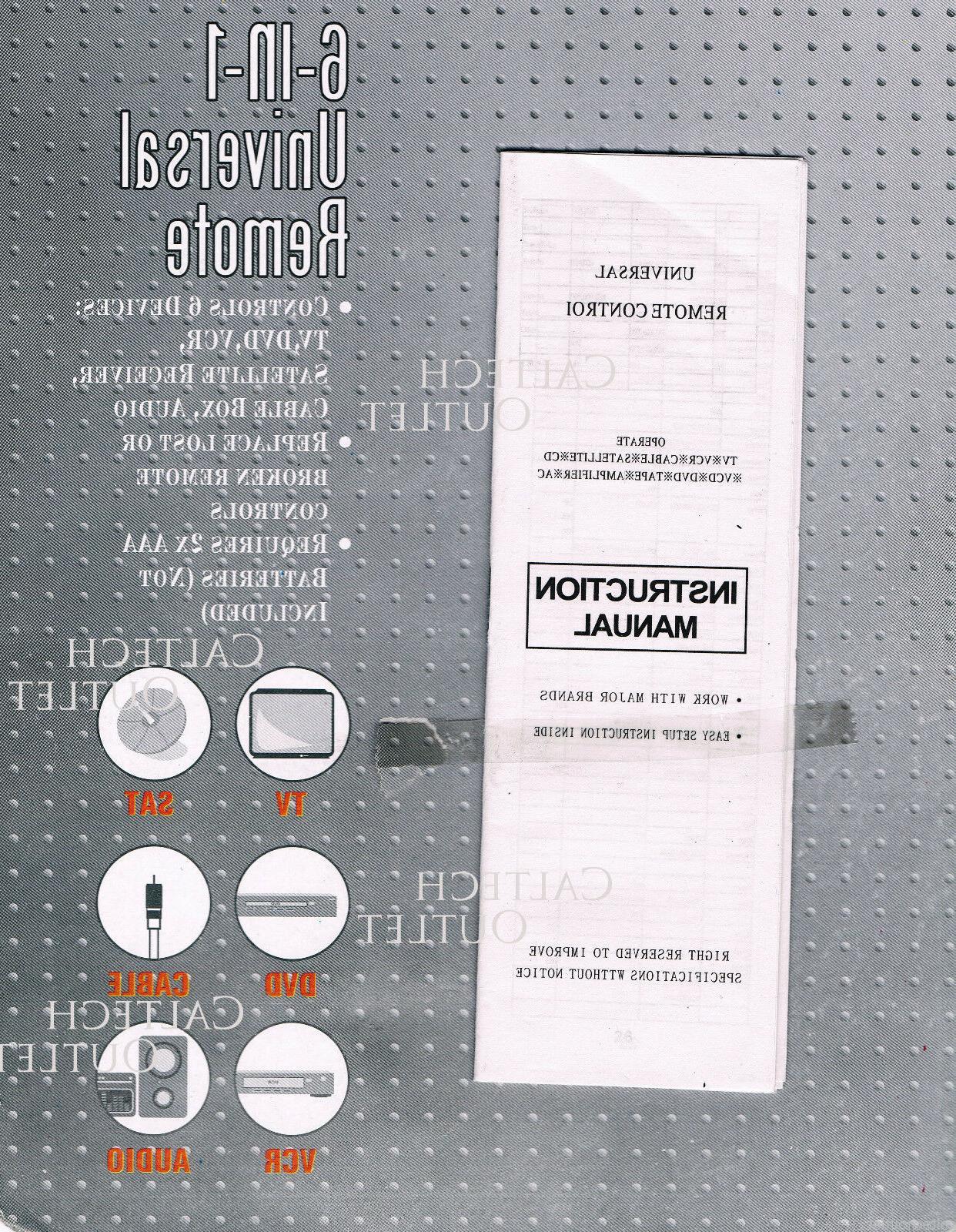 Universal Remote Controller IN 1 TV VCR Box Audio