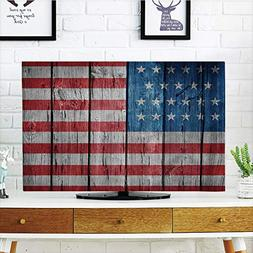 iPrint LCD TV dust Cover,Rustic American USA Flag,Fourth of