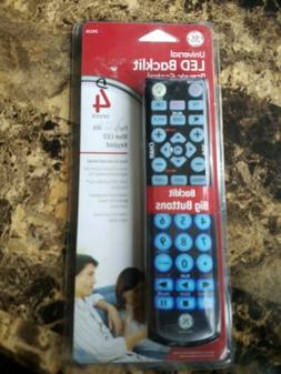 GE Universal LED Backlit Remote Control 24116 4-Device Big B