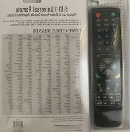 Universal Remote Black 6-IN-1 Control TV Satellite DVD Cable